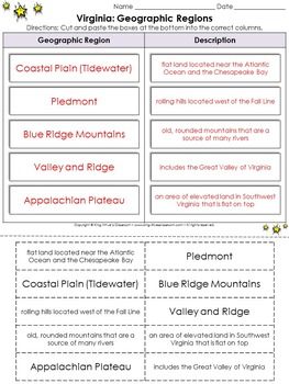 Virginia: Geographic Regions Cut and Paste Activity - Blue Ridge Mountains