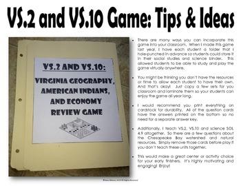 Virginia Studies Geography, American Indians, & Economy File Folder Game
