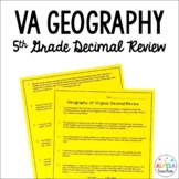 Virginia Geography Decimal Review Worksheet *Cross-Curricular*