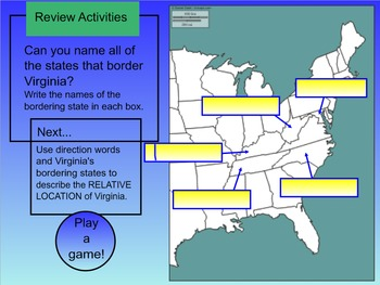Virginia Geography SMART Board Instructional Lesson - Interactive!