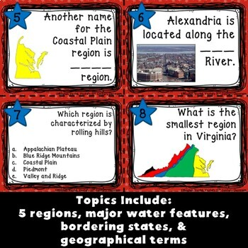 Virginia Geography Task Cards