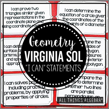 """2016 Geometry Virginia SOL:  """"I Can"""" Statements"""
