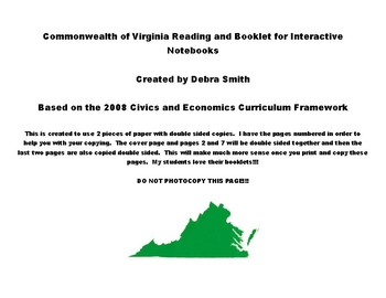 Virginia Government Reading and Booklet - Interactive Notebooks