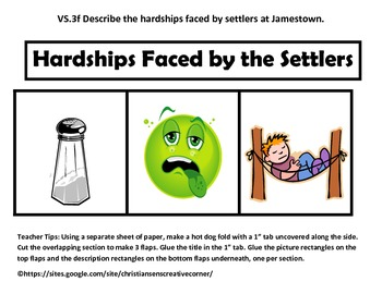Virginia History Changes for Survival and Hardships Fold-ables.