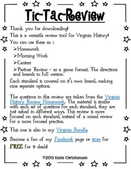 Virginia History Review Homework by the Standards