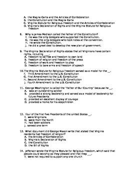 Virginia History SOL VS 6 25 question test