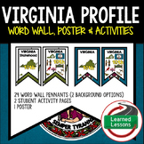Virginia History Word Wall, State Profile, Virginia Activities