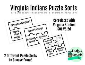 Virginia Indian Languages Puzzle Sorts