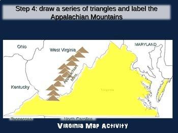 Virginia Map Activity- fun, engaging, follow-along 20-slide PPT