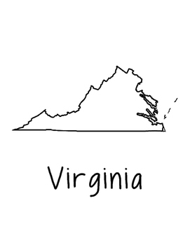 Virginia Map Coloring Page Craft - Lots of Room for Note-Taking & Creativity