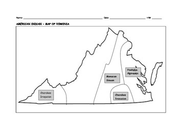 Virginia Map with American Indians Labeled and Unlabeled