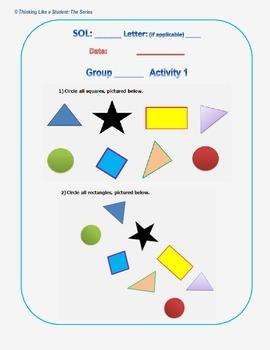 Virginia Math Kindergarten Station Activities - SOL K.12