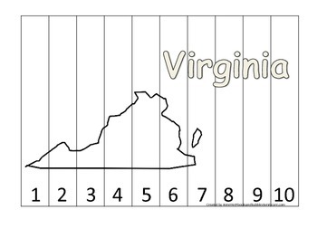 Virginia Number Sequence Puzzle.  Learn the States preschool printable game.