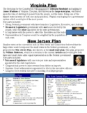 Virginia Plan New Jersey Plan Great Compromise Packet with Questions