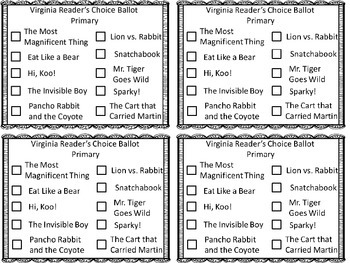 Virginia Readers Choice 2016 Packet
