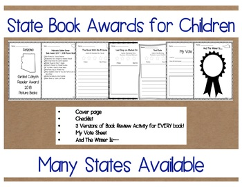 Virginia Readers' Choice Award 2017 - 2018  PRIMARY Book Review Pack NO PREP