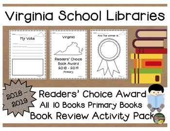 Virginia Readers' Choice Book Award 2018 - 2019  Book Review Activity Pack