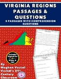 Virginia Regions Passages & Questions VS.2da-c, VS.10b {Digital & PDF Included}