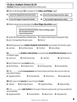 Virginia Studies Five Regions and Geography Test Freebie VS.2a,b,c
