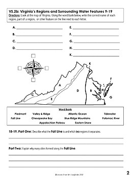 Virginia Studies Five Regions and Geography Test Freebie VS.2a,b,c