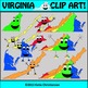 Virginia Clip Art - Regions and State