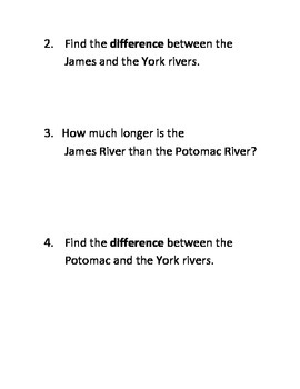 Virginia Rivers and Watersheds Word Problems