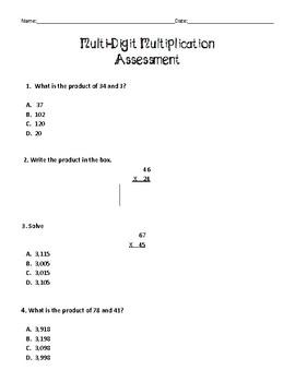 Virginia SOL Aligned Multi-Digit Multiplication Assessment