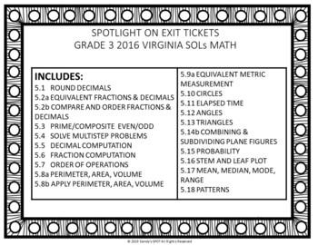 Virginia SOL Exit Tickets Grade 5 Math