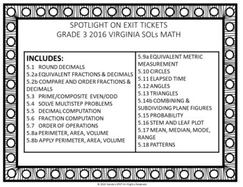 Virginia 2009 SOL Exit Tickets Grade 5 Math