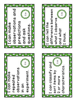 """Virginia SOL """"I Can"""" Statement Cards-Science-Second Grade"""