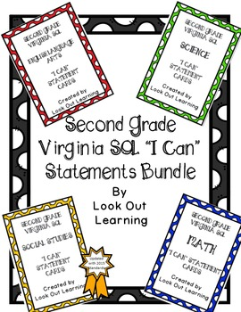 """Virginia SOL """"I Can"""" Statement Cards-Second Grade Bundle"""