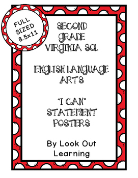 """Virginia SOL """"I Can"""" Statement Posters- Second Grade Language Arts"""