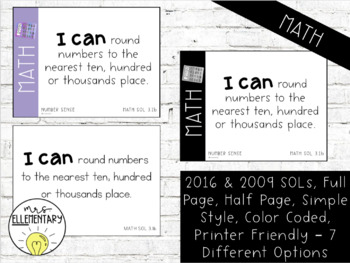 Virginia SOL I Can Statements 3rd Grade Editable