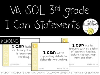 Virginia SOL I Can Statements 3rd Grade Reading Editable