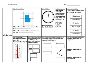 Virginia SOL Math Warm Up #4
