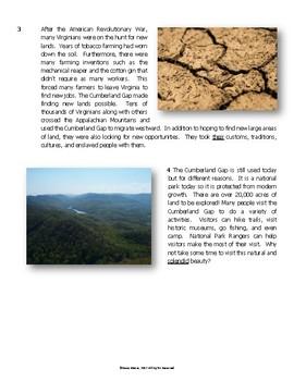 Virginia SOL Non-Fiction Reading Practice - The Cumberland Gap