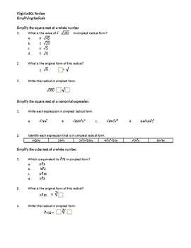 Virginia SOL Quiz Review (1 pg) Simplifying Radicals