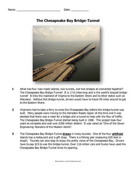 Virginia SOL Non-Fiction Reading Practice - The Chesapeake Bay Bridge-Tunnel