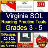 Virginia SOL Test Prep Reading Bundle - Grades 3 - 5 - Google Ready TEI VA SOL