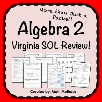 Algebra 2 SOL Review Activities Virginia: More than just a packet!
