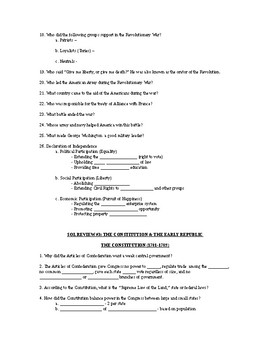 Virginia SOL United States History Review Questions