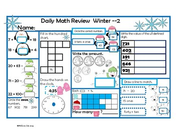 Virginia Mathematics Standards for Learning 2nd Grade Math Review Winter Theme
