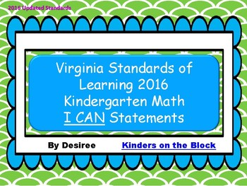 Virginia Standards of Learning Kindergarten Math I Can Statements