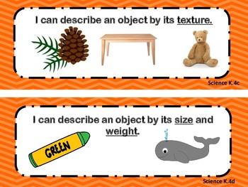 Virginia Standards of Learning Kindergarten Science I Can