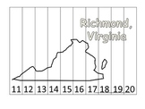 Virginia State Capitol Number Sequence Puzzle 11-20.  Geography and Numbers.