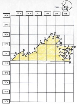 Virginia State Latitude and Longitude Coordinates Puzzle - 47 Points to Plot