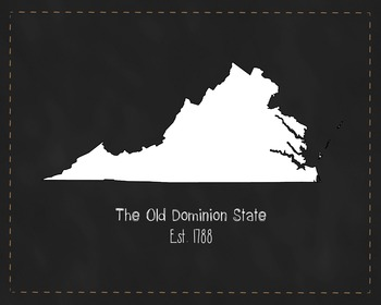 Virginia State Map Class Decor, Government, Geography, Black and White Design