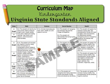 Virginia State Standards Curriculum Map for Kindergarten