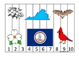 Virginia State Symbols themed 1-10 Number Sequence Puzzle Preschool Game.