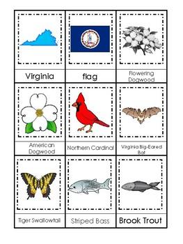Virginia State Symbols themed 3 Part Matching Preschool Literacy Card Game.